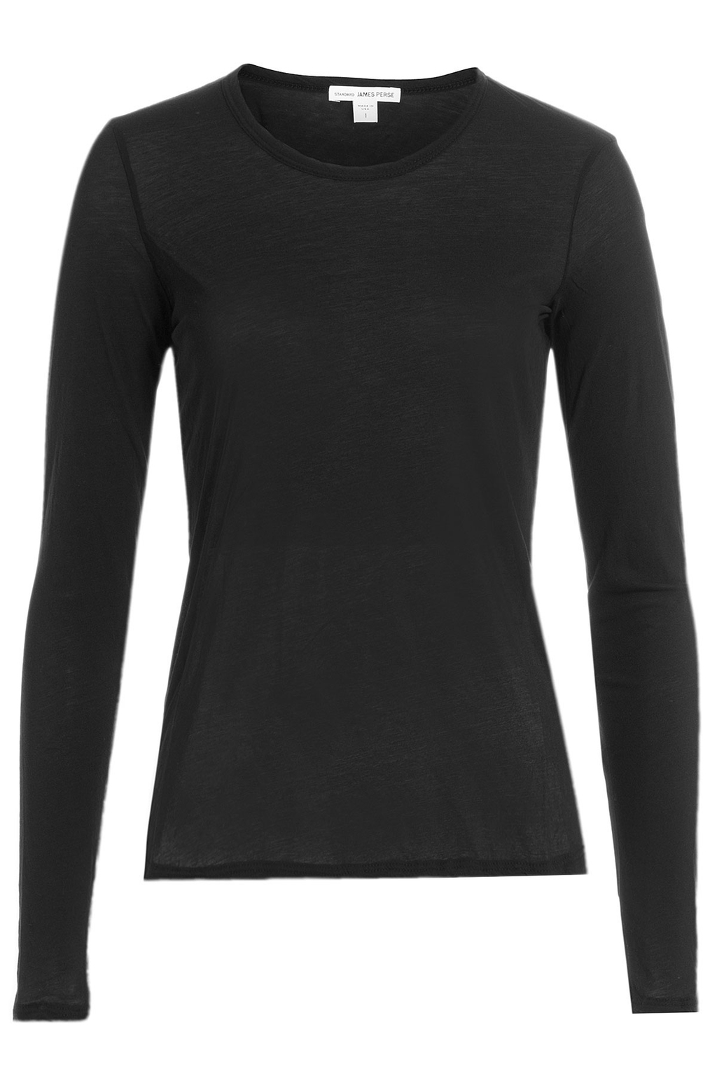 Long Sleeved Cotton Top - neckline: round neck; pattern: plain; predominant colour: black; occasions: casual, work, creative work; length: standard; style: top; fibres: cotton - 100%; fit: body skimming; sleeve length: long sleeve; sleeve style: standard; pattern type: fabric; texture group: jersey - stretchy/drapey; wardrobe: basic; season: a/w 2016