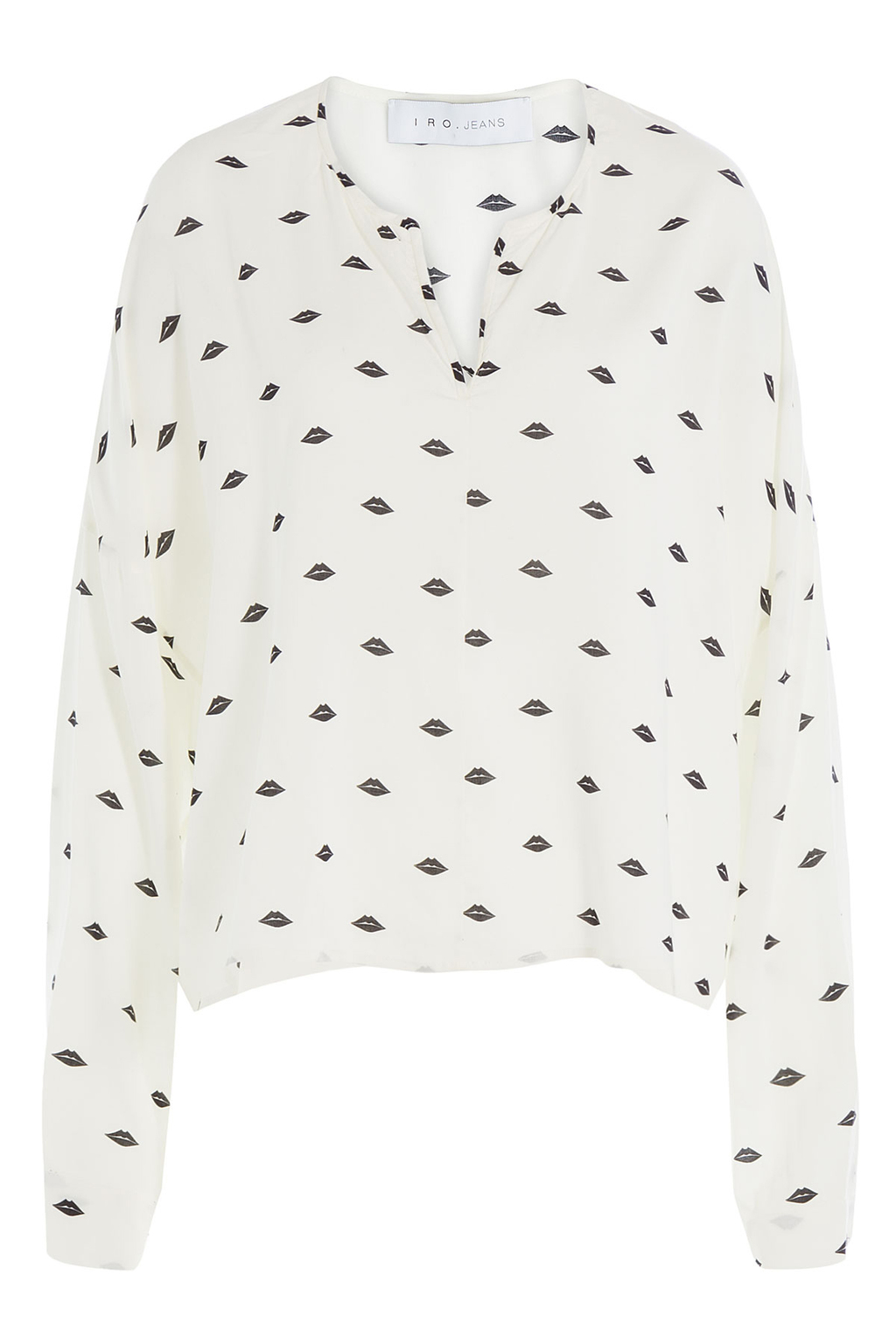 Printed Blouse - neckline: v-neck; style: blouse; predominant colour: white; secondary colour: navy; occasions: casual, creative work; length: standard; fibres: cotton - 100%; fit: loose; sleeve length: long sleeve; sleeve style: standard; texture group: cotton feel fabrics; pattern type: fabric; pattern size: standard; pattern: patterned/print; season: a/w 2016; wardrobe: highlight