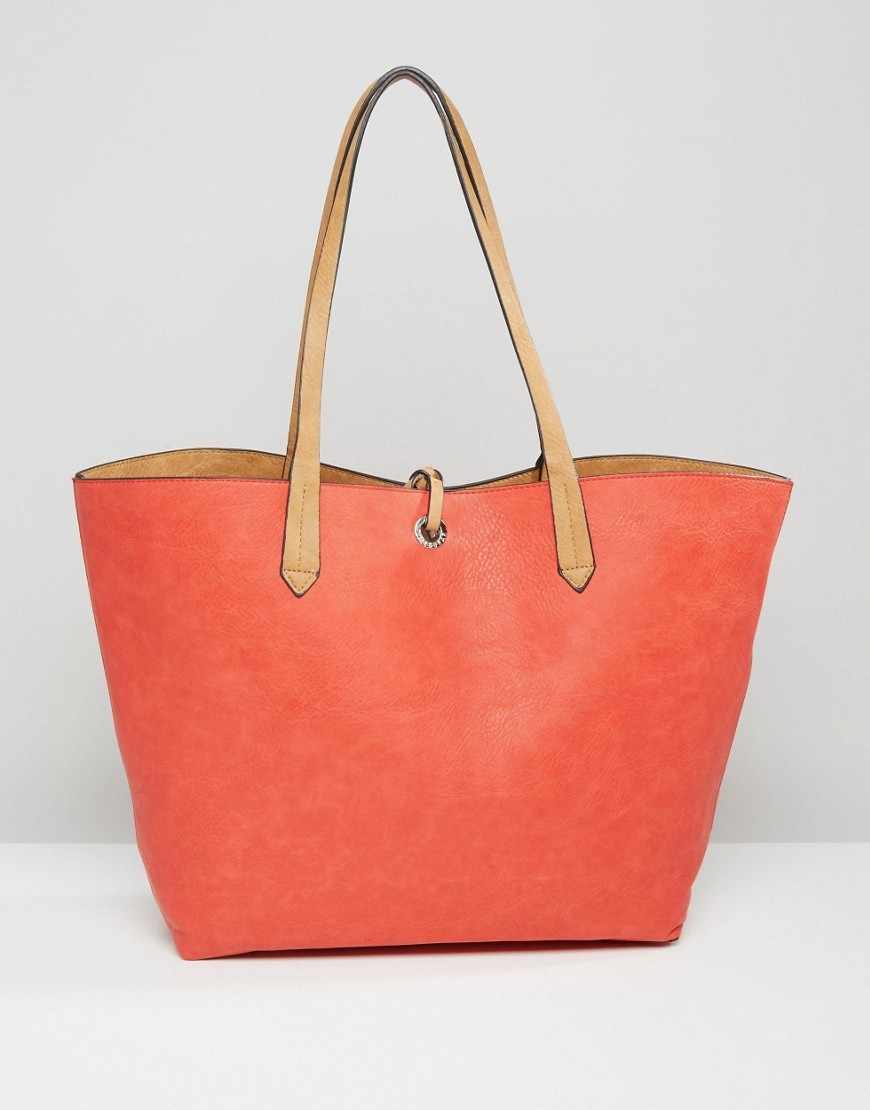 Reversible Shopper Bag Coral - predominant colour: bright orange; occasions: casual, creative work; type of pattern: standard; style: tote; length: shoulder (tucks under arm); size: oversized; material: faux leather; pattern: plain; finish: plain; season: a/w 2016; wardrobe: highlight