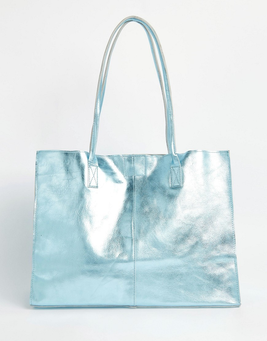 Unlined Leather Shopper Bag With Skinny Straps Blue - predominant colour: pale blue; occasions: casual, creative work; type of pattern: standard; style: tote; length: handle; size: standard; material: leather; pattern: plain; finish: plain; season: a/w 2016; wardrobe: highlight