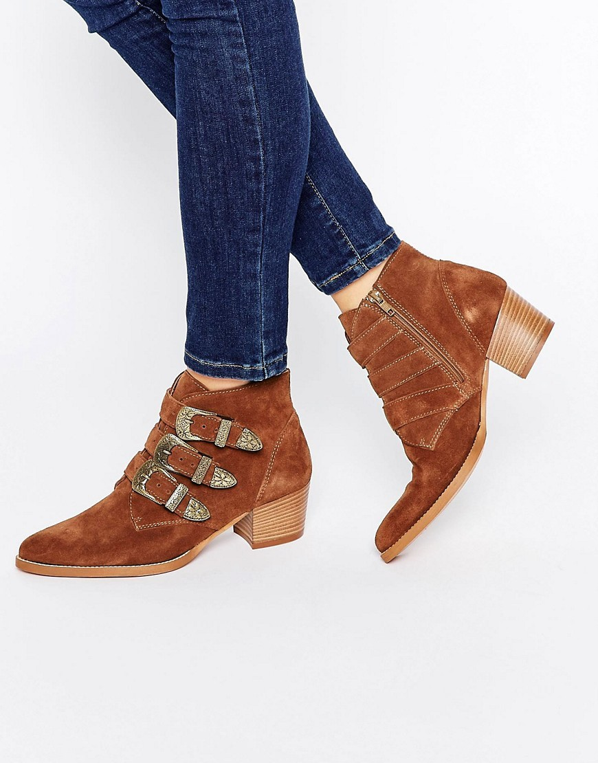 Ryder Suede Buckle Ankle Boots Rust - predominant colour: tan; occasions: casual, creative work; material: suede; heel height: mid; embellishment: buckles; heel: block; toe: pointed toe; boot length: ankle boot; style: standard; finish: plain; pattern: plain; season: a/w 2016; wardrobe: highlight