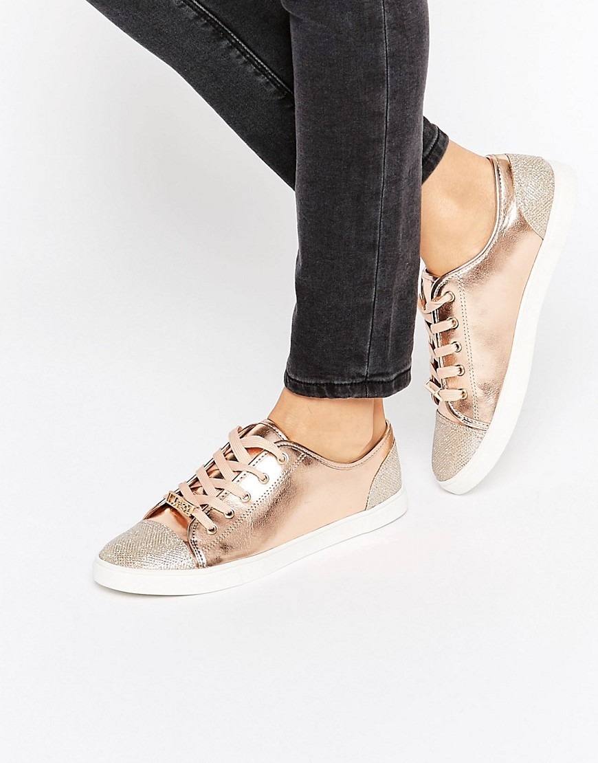 Metallic Glitter Toecap Trainers Rose Gold - predominant colour: gold; occasions: casual; material: faux leather; heel height: flat; toe: round toe; style: trainers; finish: metallic; pattern: plain; wardrobe: basic; season: a/w 2016
