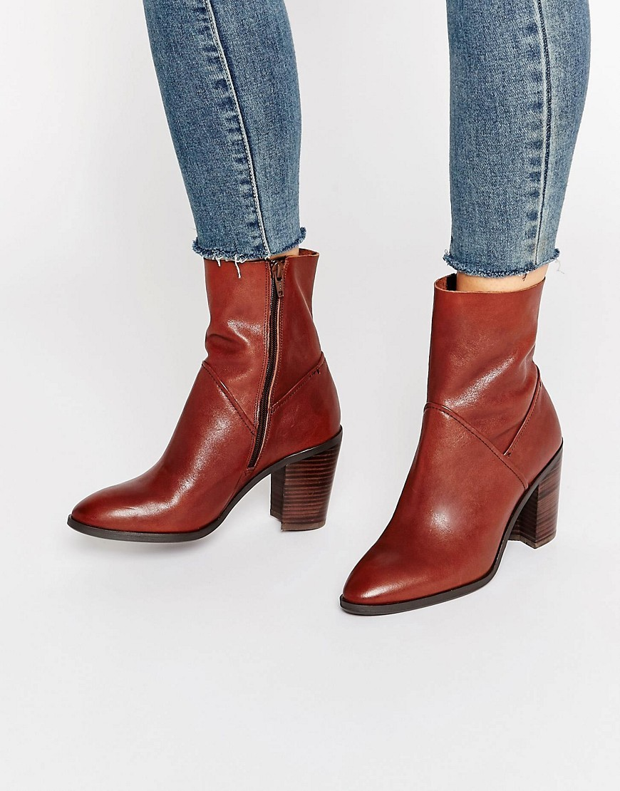 Fearien Leather Heeled Ankle Boots Dark Brown - predominant colour: terracotta; occasions: casual, creative work; material: leather; heel height: high; heel: block; toe: pointed toe; boot length: ankle boot; style: standard; finish: plain; pattern: plain; season: a/w 2016; wardrobe: highlight