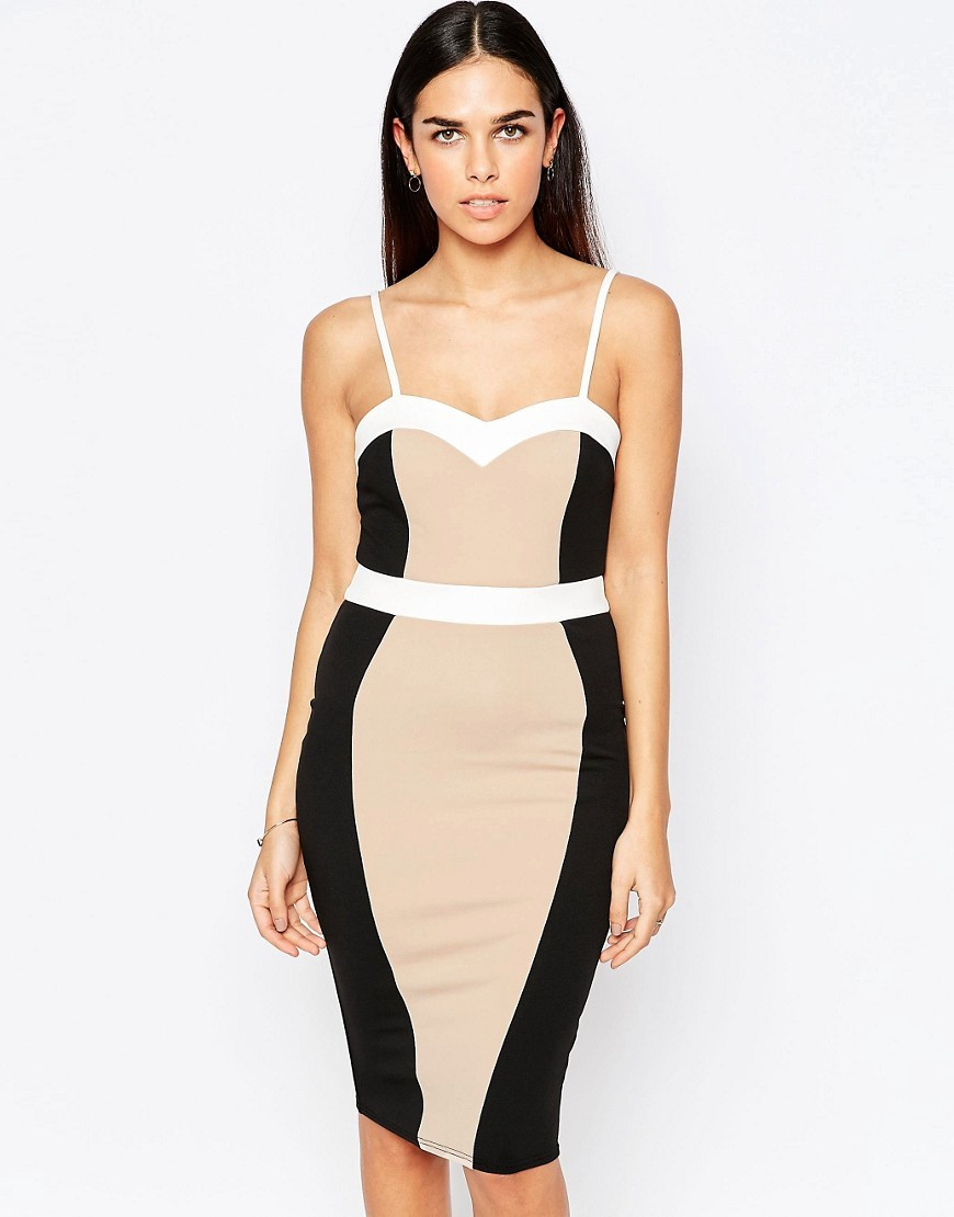 Carmel Bodycon Pencil Dress Nude/White/ Black - sleeve style: spaghetti straps; fit: tight; style: bodycon; neckline: sweetheart; hip detail: fitted at hip; predominant colour: nude; secondary colour: black; occasions: evening, occasion; length: on the knee; fibres: polyester/polyamide - stretch; sleeve length: sleeveless; texture group: jersey - clingy; pattern type: fabric; pattern size: standard; pattern: colourblock; multicoloured: multicoloured; season: a/w 2016; wardrobe: event