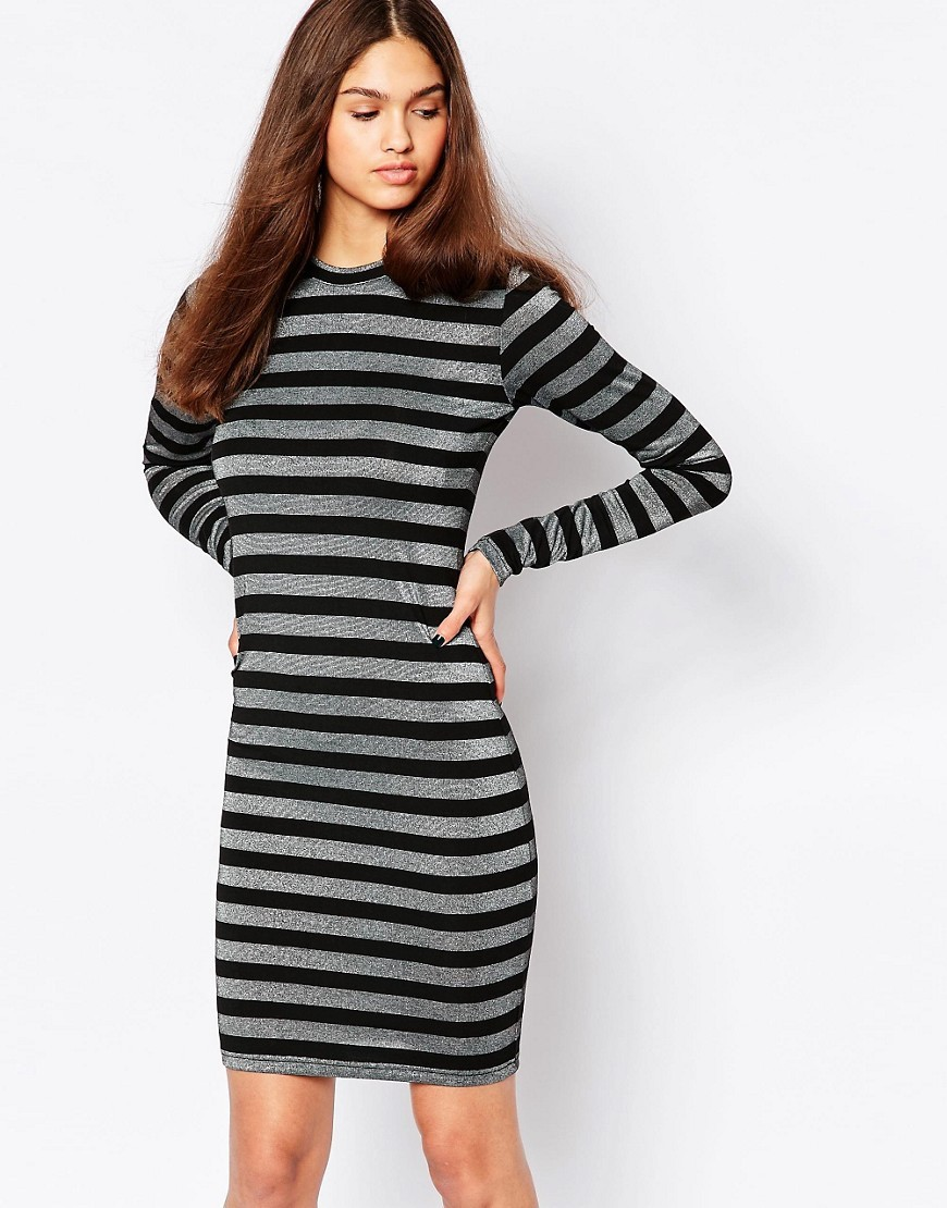 Striped Long Sleeve Bodycon Dress 999 Black - length: mid thigh; fit: tight; pattern: horizontal stripes; style: bodycon; hip detail: draws attention to hips; secondary colour: silver; predominant colour: black; occasions: evening; fibres: polyester/polyamide - stretch; neckline: crew; sleeve length: long sleeve; sleeve style: standard; texture group: jersey - clingy; pattern type: fabric; pattern size: standard; season: a/w 2016; wardrobe: event