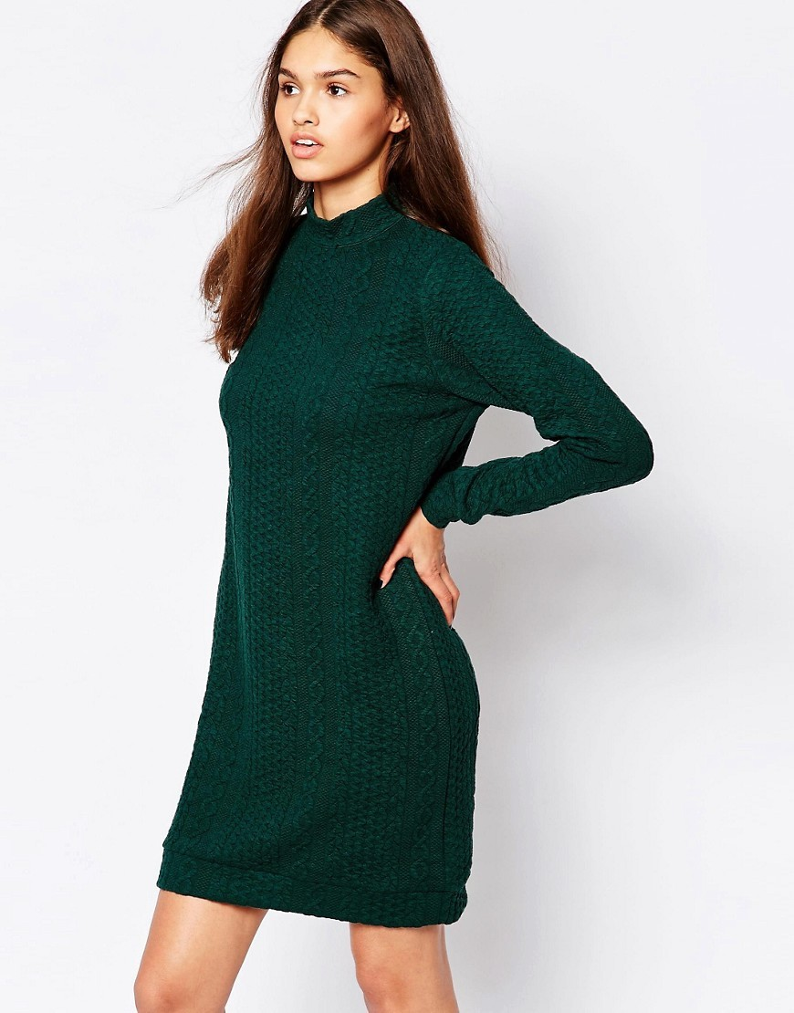 Long Sleeve Jumper Dress 857 Teal Green - style: jumper dress; length: mid thigh; fit: loose; pattern: plain; neckline: high neck; predominant colour: dark green; occasions: casual, creative work; fibres: acrylic - mix; sleeve length: long sleeve; sleeve style: standard; texture group: knits/crochet; pattern type: knitted - other; season: a/w 2016