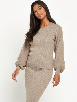 Ribbed Jumper Co Ord Neutral - neckline: round neck; pattern: plain; style: standard; predominant colour: taupe; occasions: casual, creative work; length: standard; fibres: acrylic - 100%; fit: standard fit; sleeve length: long sleeve; sleeve style: standard; texture group: knits/crochet; pattern type: knitted - other; wardrobe: basic; season: a/w 2016