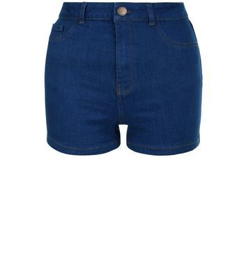 Blue High Waist Super Skinny Shorts - pattern: plain; waist: high rise; predominant colour: navy; occasions: casual; fibres: cotton - stretch; hip detail: fitted at hip (bottoms); texture group: denim; pattern type: fabric; style: shorts; length: short shorts; fit: skinny/tight leg; season: a/w 2016
