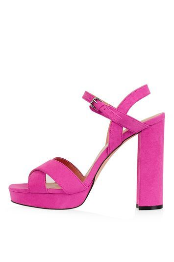 Major Cross Strap Platforms - predominant colour: hot pink; occasions: evening, occasion; material: suede; ankle detail: ankle strap; heel: block; toe: open toe/peeptoe; style: strappy; finish: plain; pattern: plain; heel height: very high; shoe detail: platform; season: a/w 2016; wardrobe: event