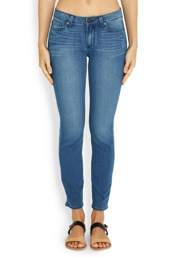Skyline Skinny Jean In Harbor - style: skinny leg; length: standard; pattern: plain; pocket detail: traditional 5 pocket; waist: mid/regular rise; predominant colour: royal blue; occasions: casual; fibres: cotton - stretch; jeans detail: whiskering; texture group: denim; pattern type: fabric; season: a/w 2016