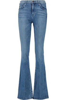 The Low Bell High Rise Flared Jeans Mid Denim - style: flares; length: standard; pattern: plain; pocket detail: traditional 5 pocket; waist: mid/regular rise; predominant colour: burgundy; occasions: casual; fibres: cotton - stretch; jeans detail: whiskering; texture group: denim; pattern type: fabric; season: a/w 2016; wardrobe: highlight