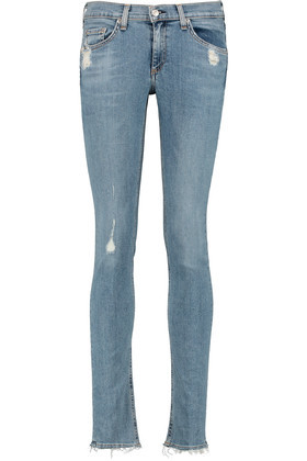 Distressed Mid Rise Skinny Jeans Light Denim - style: skinny leg; length: standard; pattern: plain; pocket detail: traditional 5 pocket; waist: mid/regular rise; predominant colour: nude; occasions: casual; fibres: cotton - stretch; texture group: denim; pattern type: fabric; jeans detail: rips; season: a/w 2016; wardrobe: highlight