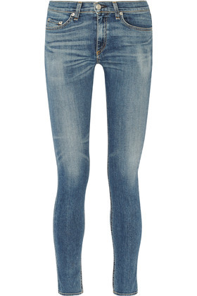 The Skinny Mid Rise Jeans Light Denim - style: skinny leg; length: standard; pattern: plain; pocket detail: traditional 5 pocket; waist: mid/regular rise; predominant colour: denim; occasions: casual; fibres: cotton - stretch; jeans detail: whiskering, washed/faded; texture group: denim; pattern type: fabric; wardrobe: basic; season: a/w 2016