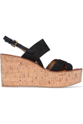 Destiny Suede Cork Wedge Sandals Black - predominant colour: black; occasions: casual, holiday; material: suede; heel height: high; heel: wedge; toe: open toe/peeptoe; style: strappy; finish: plain; pattern: plain; shoe detail: platform; wardrobe: investment; season: a/w 2016