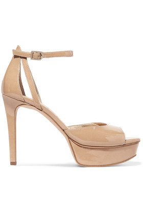 Faux Patent Leather Sandals Beige - predominant colour: ivory/cream; occasions: evening, occasion; material: suede; ankle detail: ankle strap; heel: stiletto; toe: open toe/peeptoe; style: strappy; finish: plain; pattern: plain; heel height: very high; shoe detail: platform; season: a/w 2016; wardrobe: event