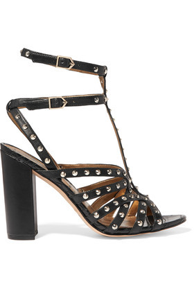 Yadria Studded Leather Sandals Black - predominant colour: black; occasions: evening, holiday; material: leather; embellishment: studs; ankle detail: ankle strap; heel: block; toe: open toe/peeptoe; style: strappy; finish: plain; pattern: plain; heel height: very high; season: a/w 2016