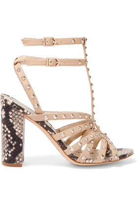 Yadria Studded And Snake Effect Leather Sandals Beige - predominant colour: ivory/cream; occasions: casual, evening, holiday; material: leather; heel height: high; embellishment: studs; ankle detail: ankle strap; heel: block; toe: open toe/peeptoe; style: standard; finish: plain; pattern: animal print; season: a/w 2016; wardrobe: highlight