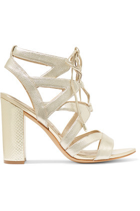 Lace Up Metallic Textured Leather Sandals Gold - predominant colour: gold; occasions: evening; material: leather; ankle detail: ankle tie; heel: block; toe: open toe/peeptoe; style: strappy; finish: metallic; pattern: plain; heel height: very high; season: a/w 2016; wardrobe: event