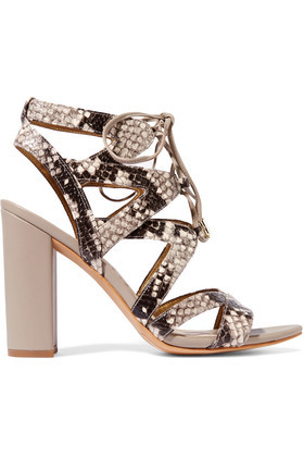 Lace Up Snake Effect Leather Sandals Taupe - predominant colour: taupe; secondary colour: black; occasions: casual, evening, holiday; material: faux leather; ankle detail: ankle tie; heel: block; toe: open toe/peeptoe; style: strappy; finish: plain; pattern: animal print; heel height: very high; season: a/w 2016; wardrobe: highlight