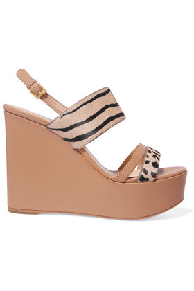 Rodeo Printed Calf Hair And Leather Wedge Sandals Camel - predominant colour: camel; occasions: casual, holiday; material: leather; heel: wedge; toe: open toe/peeptoe; style: strappy; finish: plain; pattern: striped; heel height: very high; shoe detail: platform; season: a/w 2016; wardrobe: highlight