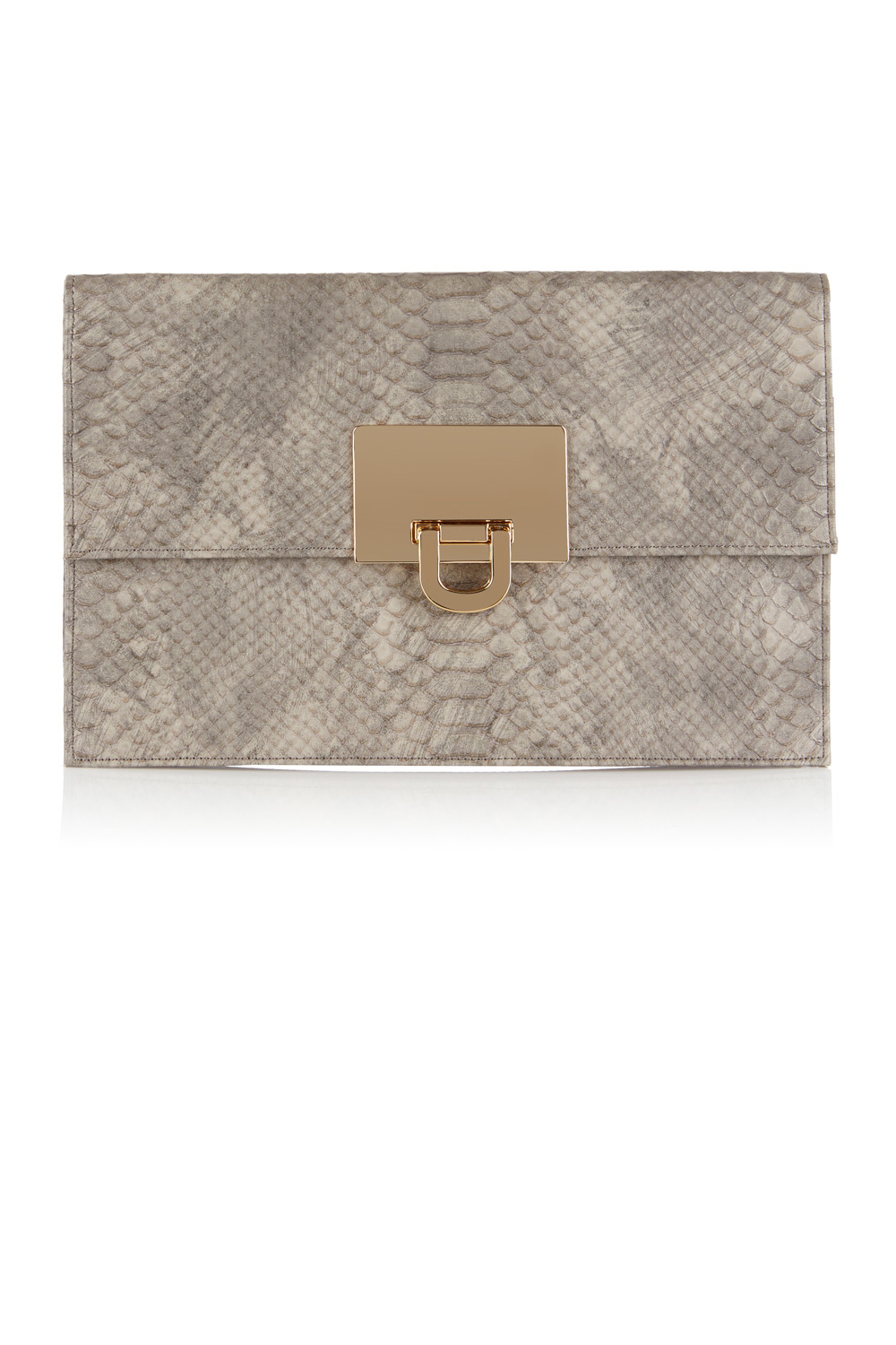 Filippa Snake Skin Clutch Bag - predominant colour: stone; secondary colour: gold; occasions: evening, occasion; type of pattern: standard; style: clutch; length: hand carry; size: standard; material: faux leather; pattern: animal print; finish: plain; season: a/w 2016; wardrobe: event