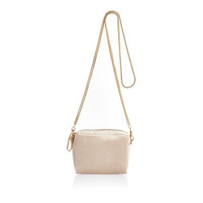 Womens Cream Embossed Velvet Chain Bag - predominant colour: nude; secondary colour: gold; occasions: casual, creative work; type of pattern: standard; style: shoulder; length: across body/long; size: standard; material: faux leather; pattern: plain; finish: plain; wardrobe: investment; season: a/w 2016
