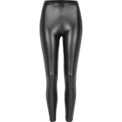 Womens Black Coated High Rise Leggings - length: standard; pattern: plain; style: leggings; waist: high rise; predominant colour: black; occasions: casual, evening; fibres: polyester/polyamide - stretch; texture group: leather; fit: skinny/tight leg; pattern type: fabric; season: a/w 2016; wardrobe: highlight