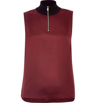 Womens Purple Sleeveless High Neck Top - pattern: plain; sleeve style: sleeveless; neckline: roll neck; predominant colour: burgundy; occasions: casual, creative work; length: standard; style: top; fibres: polyester/polyamide - 100%; fit: body skimming; sleeve length: sleeveless; pattern type: fabric; texture group: jersey - stretchy/drapey; season: a/w 2016; wardrobe: highlight; embellishment location: bust