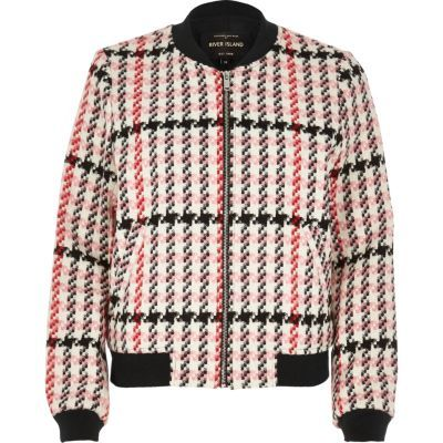 Womens Pink Classic Checked Bomber Jacket - pattern: checked/gingham; collar: round collar/collarless; style: bomber; predominant colour: pink; secondary colour: black; occasions: casual, creative work; length: standard; fit: straight cut (boxy); fibres: polyester/polyamide - 100%; sleeve length: long sleeve; sleeve style: standard; collar break: high; pattern type: fabric; texture group: brocade/jacquard; multicoloured: multicoloured; season: a/w 2016; wardrobe: highlight