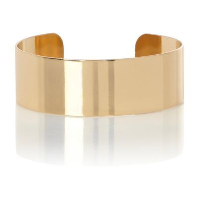 Womens Gold Tone Cuff Bracelet - predominant colour: gold; occasions: evening, occasion, creative work; style: cuff; size: large/oversized; material: chain/metal; finish: metallic; season: a/w 2016; wardrobe: highlight
