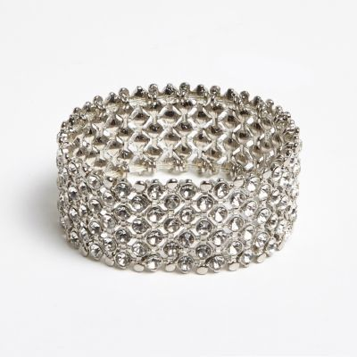 Womens Silver Crystal Embellished Bracelet - predominant colour: silver; occasions: evening, occasion; style: bangle/standard; size: large/oversized; material: chain/metal; finish: metallic; embellishment: crystals/glass; season: a/w 2016; wardrobe: event