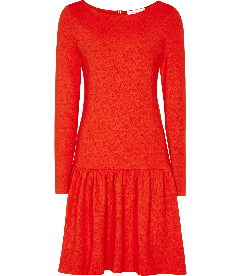 Agnes Womens Drop Waist Jersey Dress In Orange - length: mid thigh; neckline: round neck; pattern: plain; style: drop waist; predominant colour: bright orange; fit: body skimming; fibres: cotton - stretch; sleeve length: long sleeve; sleeve style: standard; pattern type: fabric; texture group: jersey - stretchy/drapey; occasions: creative work; season: a/w 2016