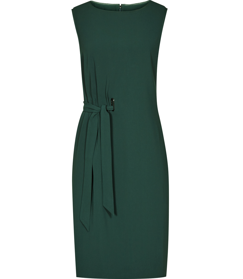 Libra Womens Waist Tie Dress In Green - style: shift; neckline: round neck; fit: tailored/fitted; pattern: plain; sleeve style: sleeveless; waist detail: belted waist/tie at waist/drawstring; predominant colour: dark green; occasions: evening, occasion; length: just above the knee; fibres: silk - 100%; sleeve length: sleeveless; texture group: crepes; pattern type: fabric; season: a/w 2016; wardrobe: event