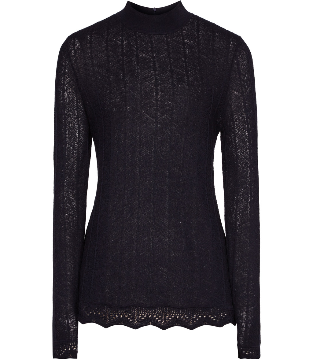 Orla Womens Lace Effect Jumper In Blue - pattern: plain; length: below the bottom; neckline: roll neck; style: standard; predominant colour: navy; occasions: casual, work, creative work; fibres: wool - mix; fit: slim fit; sleeve length: long sleeve; sleeve style: standard; texture group: knits/crochet; pattern type: knitted - fine stitch; wardrobe: basic; season: a/w 2016