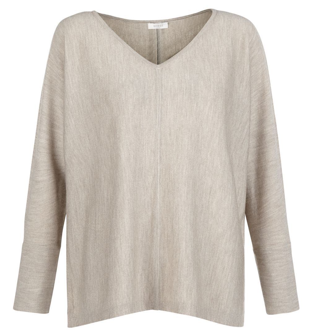 Bethany Sweater, Beige - neckline: v-neck; sleeve style: dolman/batwing; pattern: plain; length: below the bottom; style: standard; predominant colour: stone; occasions: casual, work, creative work; fibres: wool - mix; fit: loose; sleeve length: long sleeve; texture group: knits/crochet; pattern type: knitted - fine stitch; wardrobe: basic; season: a/w 2016