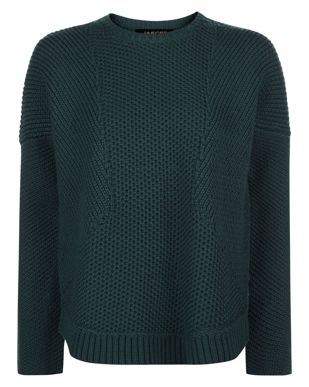 Wool Textured Block Sweater, Green - sleeve style: dolman/batwing; pattern: plain; style: standard; predominant colour: dark green; occasions: casual, work, creative work; length: standard; fibres: wool - 100%; fit: standard fit; neckline: crew; sleeve length: long sleeve; texture group: knits/crochet; pattern type: knitted - fine stitch; season: a/w 2016; wardrobe: highlight