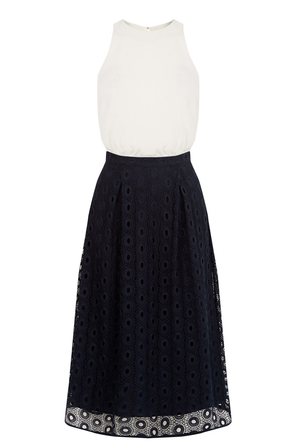Lace And Woven Mix Prom Dress, Navy - sleeve style: sleeveless; style: prom dress; waist detail: fitted waist; secondary colour: white; predominant colour: navy; occasions: evening, occasion; length: on the knee; fit: fitted at waist & bust; fibres: cotton - 100%; neckline: crew; hip detail: structured pleats at hip; sleeve length: sleeveless; texture group: lace; pattern type: fabric; pattern size: standard; pattern: patterned/print; season: a/w 2016; wardrobe: event