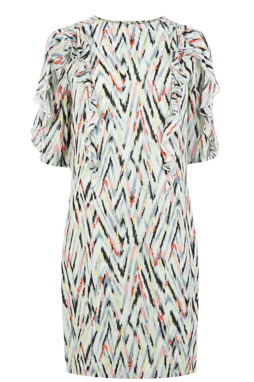 Zig Zag Print Ruffle Dress, Multi Coloured - style: shift; predominant colour: ivory/cream; secondary colour: charcoal; occasions: evening; length: just above the knee; fit: body skimming; fibres: polyester/polyamide - 100%; neckline: crew; sleeve length: short sleeve; sleeve style: standard; pattern type: fabric; pattern: patterned/print; texture group: woven light midweight; multicoloured: multicoloured; season: a/w 2016; wardrobe: event