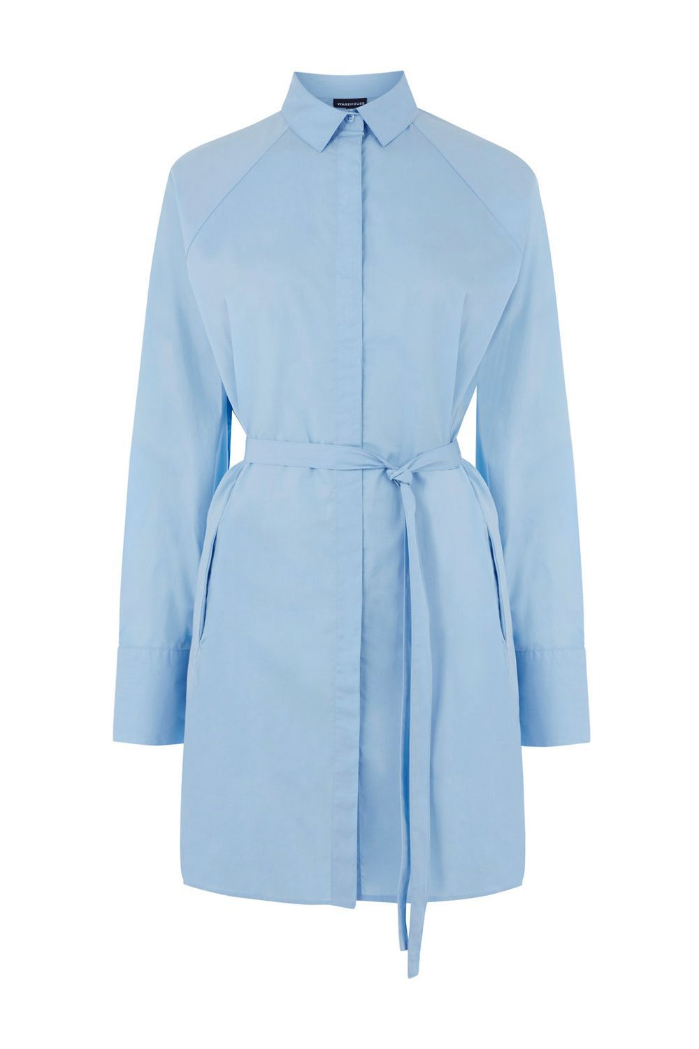 Tie Waist Shirt Dress, Light Blue - style: shirt; length: mid thigh; neckline: shirt collar/peter pan/zip with opening; pattern: plain; waist detail: belted waist/tie at waist/drawstring; predominant colour: pale blue; occasions: work; fit: body skimming; fibres: polyester/polyamide - 100%; sleeve length: long sleeve; sleeve style: standard; texture group: cotton feel fabrics; pattern type: fabric; season: a/w 2016