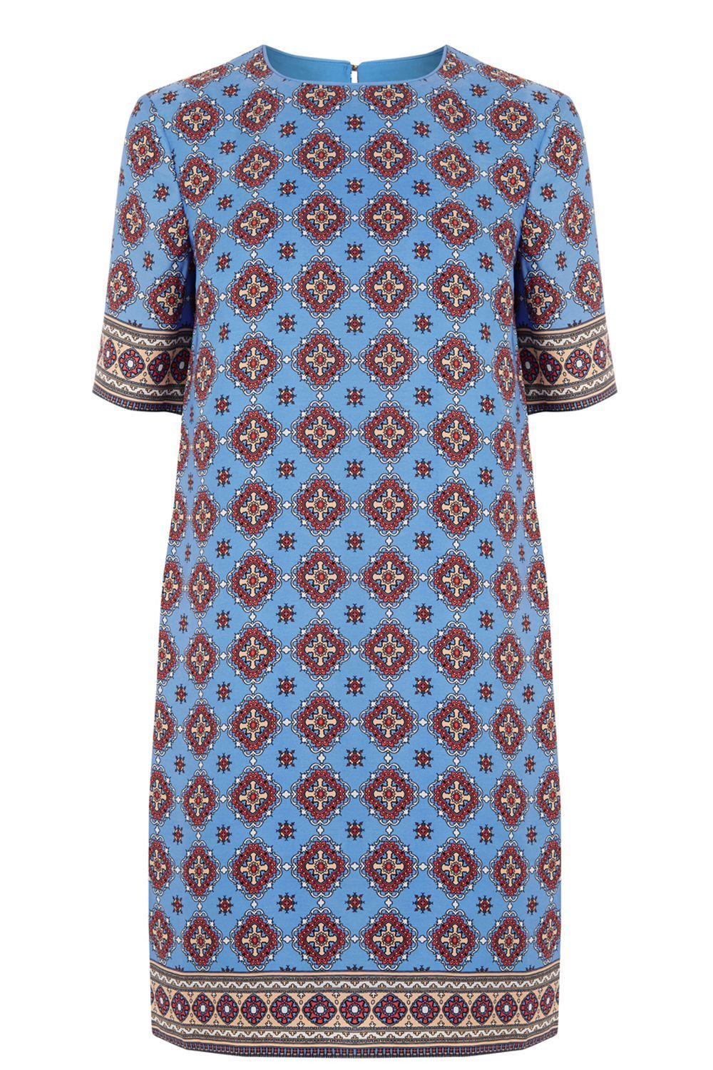 Tile Print Shift Dress, Blue - style: shift; length: mid thigh; pattern: paisley; secondary colour: burgundy; predominant colour: diva blue; fit: straight cut; fibres: polyester/polyamide - 100%; neckline: crew; sleeve length: half sleeve; sleeve style: standard; pattern type: fabric; pattern size: standard; texture group: woven light midweight; occasions: creative work; multicoloured: multicoloured; season: a/w 2016; wardrobe: highlight