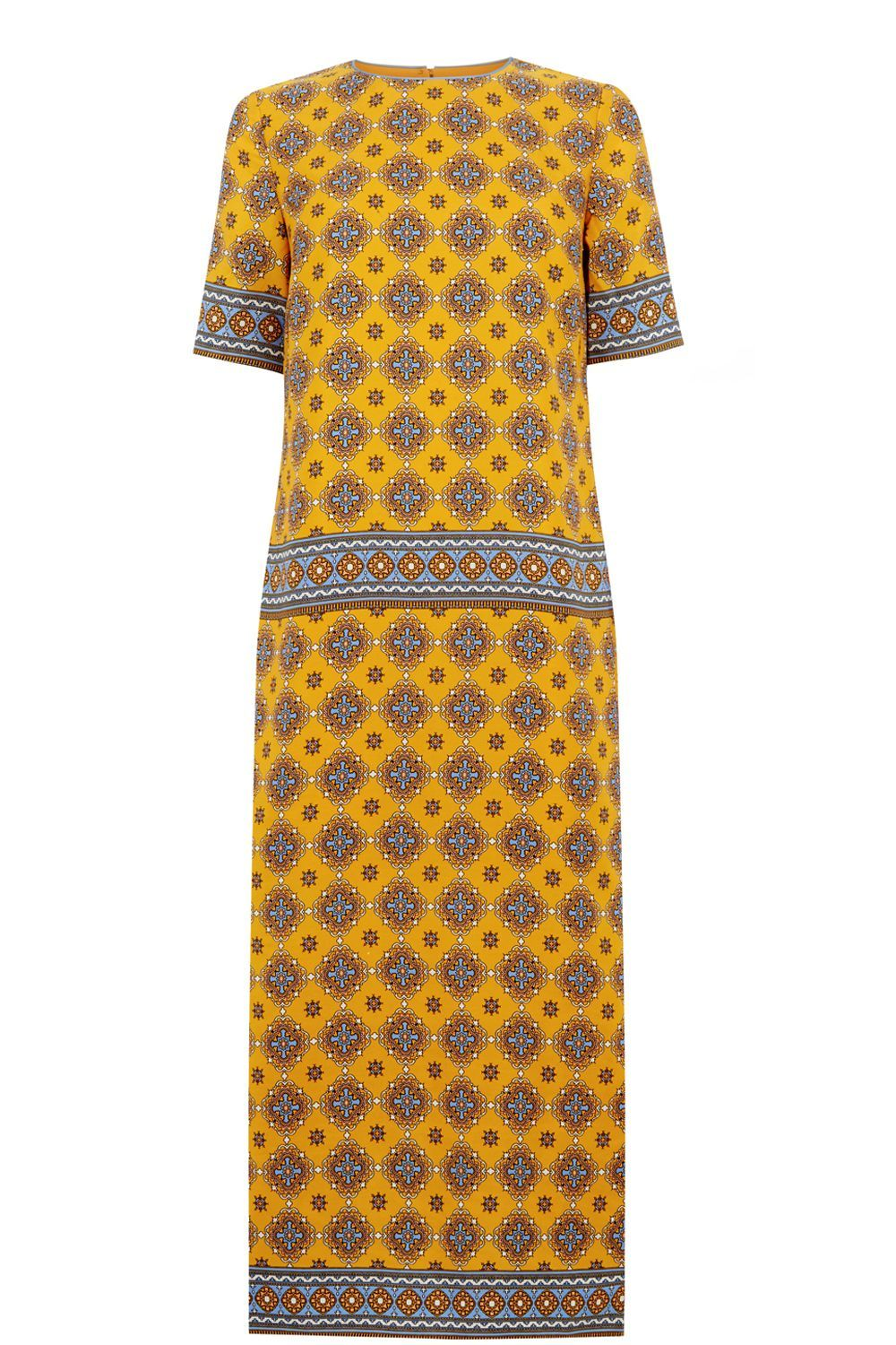 Tile Print Column Midi Dress, Mustard Yellow - style: shift; length: calf length; pattern: paisley; secondary colour: turquoise; predominant colour: mustard; occasions: casual, creative work; fit: straight cut; fibres: polyester/polyamide - 100%; neckline: crew; sleeve length: short sleeve; sleeve style: standard; pattern type: fabric; pattern size: standard; texture group: woven light midweight; multicoloured: multicoloured; season: a/w 2016; wardrobe: highlight