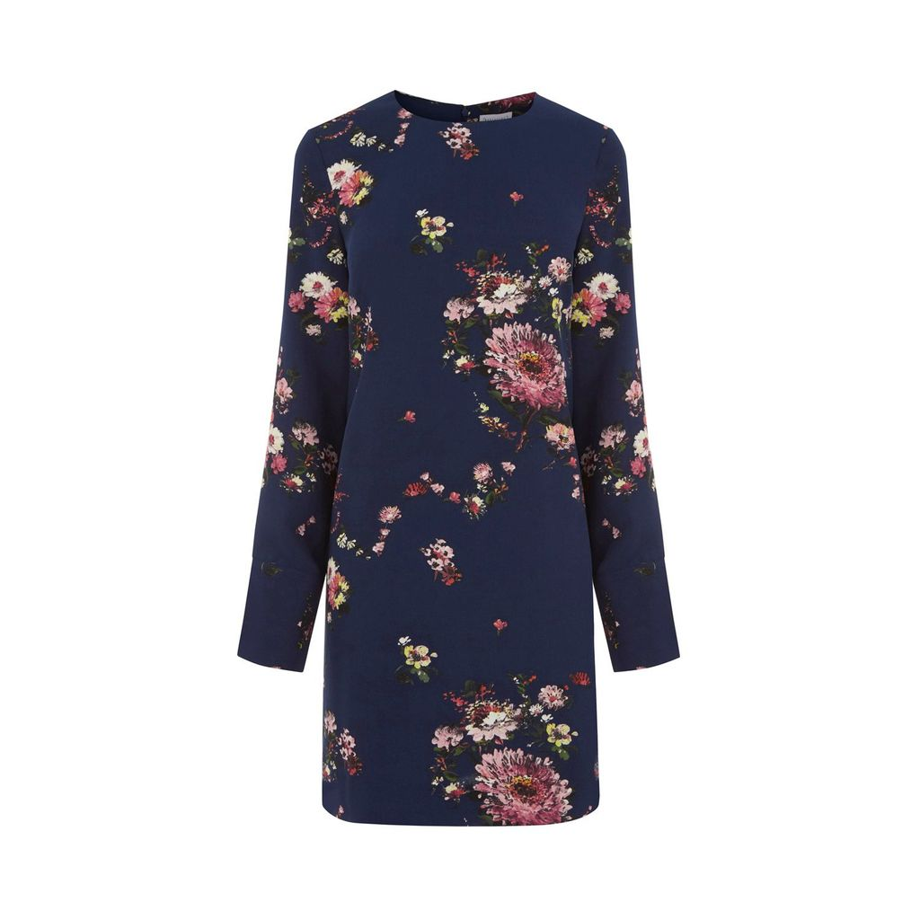 Painted Floral Shift Dress, Blue - style: shift; length: mid thigh; secondary colour: pink; predominant colour: navy; occasions: evening; fit: body skimming; fibres: polyester/polyamide - 100%; neckline: crew; sleeve length: long sleeve; sleeve style: standard; pattern type: fabric; pattern: florals; texture group: woven light midweight; multicoloured: multicoloured; season: a/w 2016; wardrobe: event