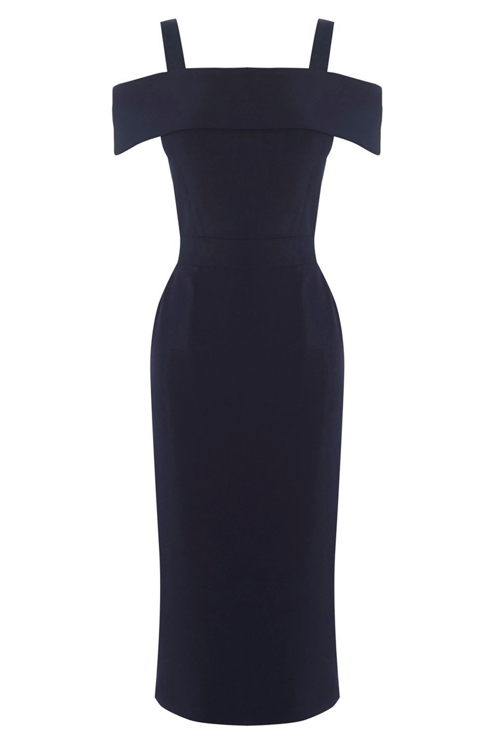 Crepe Off The Shoulder Dress, Navy - style: shift; length: below the knee; fit: tailored/fitted; pattern: plain; hip detail: fitted at hip; predominant colour: navy; occasions: evening, occasion; fibres: polyester/polyamide - 100%; shoulder detail: cut out shoulder; sleeve length: short sleeve; sleeve style: standard; texture group: crepes; neckline: low square neck; pattern type: fabric; season: a/w 2016; wardrobe: event