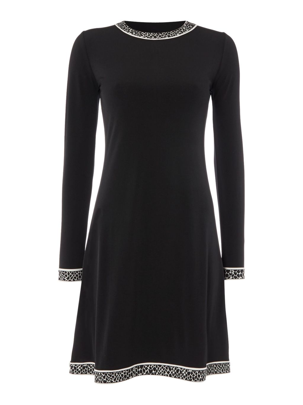 Long Sleeve Dress, Black - length: mid thigh; secondary colour: white; predominant colour: black; fit: fitted at waist & bust; style: fit & flare; fibres: polyester/polyamide - stretch; neckline: crew; sleeve length: long sleeve; sleeve style: standard; pattern type: fabric; pattern size: light/subtle; pattern: animal print; texture group: jersey - stretchy/drapey; occasions: creative work; season: a/w 2016; wardrobe: highlight