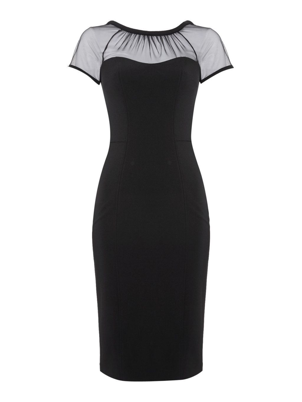 Thea Illusion Dress, Black - style: shift; sleeve style: capped; fit: tailored/fitted; pattern: plain; hip detail: draws attention to hips; predominant colour: black; occasions: evening, occasion; length: on the knee; fibres: polyester/polyamide - mix; neckline: crew; sleeve length: short sleeve; texture group: crepes; pattern type: fabric; shoulder detail: sheer at shoulder; season: a/w 2016; wardrobe: event