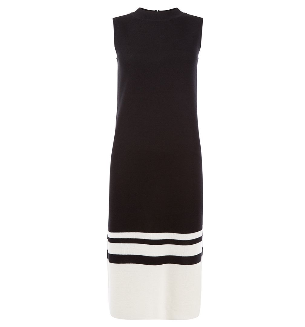 Verde Dress, White - style: shift; length: calf length; sleeve style: sleeveless; neckline: high neck; secondary colour: ivory/cream; predominant colour: black; fit: straight cut; fibres: wool - mix; sleeve length: sleeveless; trends: monochrome; texture group: crepes; pattern type: fabric; pattern size: standard; pattern: colourblock; occasions: creative work; season: a/w 2016; wardrobe: highlight