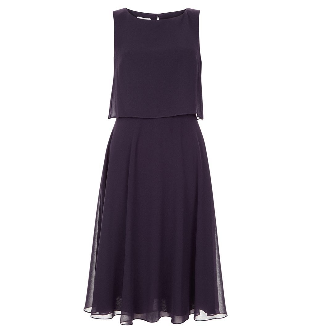 Marielle Dress, Purple - neckline: round neck; pattern: plain; sleeve style: sleeveless; waist detail: fitted waist; predominant colour: aubergine; occasions: evening, occasion; length: just above the knee; fit: fitted at waist & bust; style: fit & flare; fibres: polyester/polyamide - 100%; hip detail: subtle/flattering hip detail; sleeve length: sleeveless; texture group: sheer fabrics/chiffon/organza etc.; pattern type: fabric; season: a/w 2016; wardrobe: event