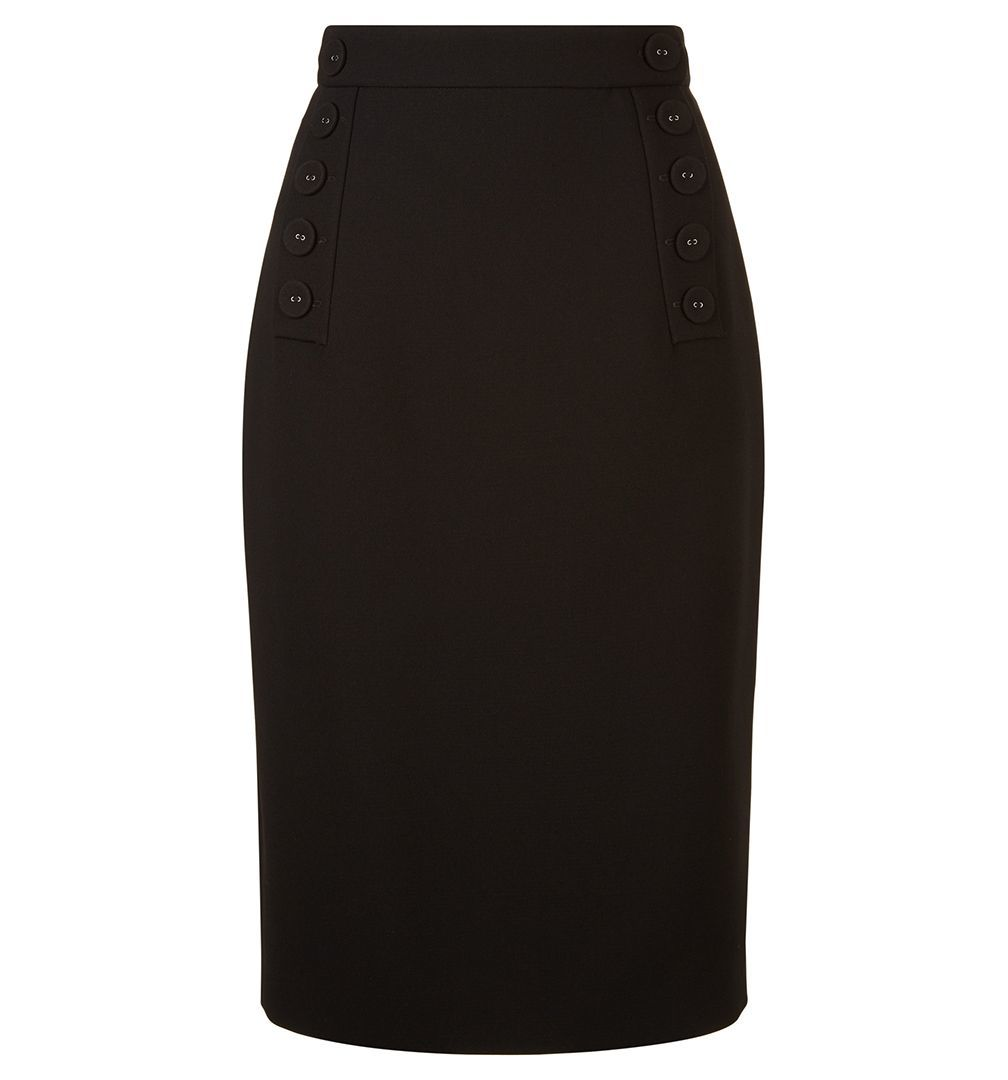 Delora Skirt, Black - length: below the knee; pattern: plain; style: pencil; fit: tailored/fitted; waist: high rise; predominant colour: black; occasions: work; fibres: wool - mix; waist detail: feature waist detail; texture group: crepes; pattern type: fabric; wardrobe: basic; season: a/w 2016