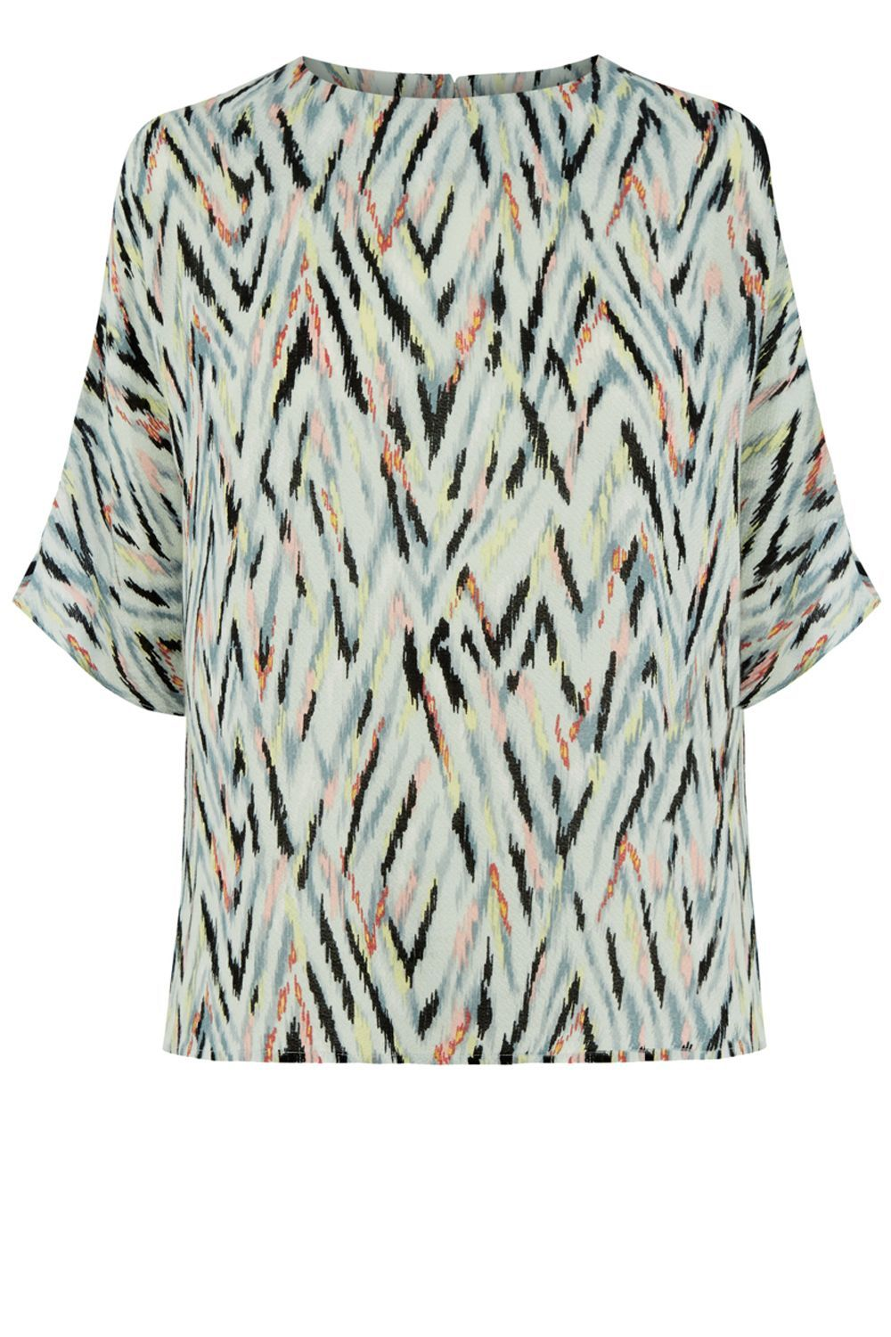 Zig Zag Print Top, Multi Coloured - sleeve style: dolman/batwing; style: t-shirt; predominant colour: pistachio; secondary colour: black; occasions: casual, creative work; length: standard; fibres: polyester/polyamide - 100%; fit: straight cut; neckline: crew; sleeve length: half sleeve; pattern type: fabric; pattern: patterned/print; texture group: woven light midweight; pattern size: big & busy (top); multicoloured: multicoloured; season: a/w 2016; wardrobe: highlight