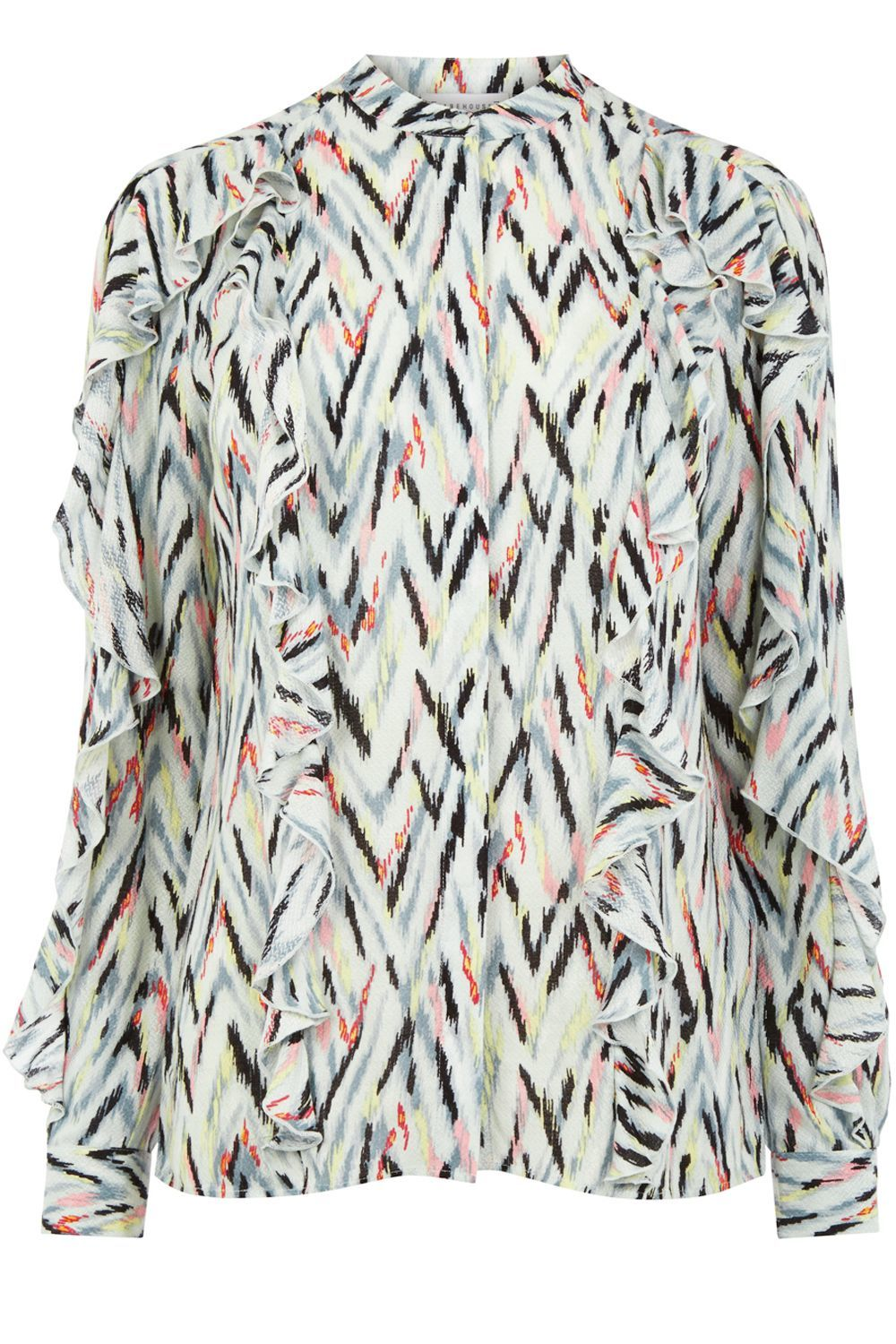 Zig Zag Print Ruffle Blouse, Multi Coloured - style: blouse; predominant colour: pistachio; secondary colour: coral; occasions: casual, creative work; length: standard; neckline: collarstand; fibres: polyester/polyamide - 100%; fit: straight cut; sleeve length: long sleeve; sleeve style: standard; bust detail: bulky details at bust; pattern type: fabric; pattern size: standard; pattern: patterned/print; texture group: woven light midweight; multicoloured: multicoloured; season: a/w 2016; wardrobe: highlight; trends: statement sleeves